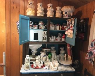 Cute Doughboy collection! Nice Hoosier cabinet