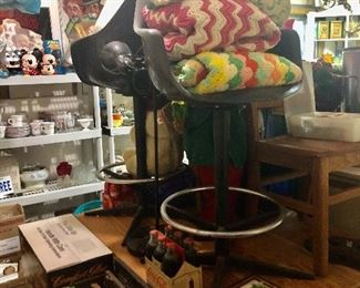 Retro bar stools, cute wood top table, floor lamp  child's small chair