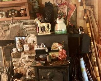 Great cast iron stove loaded with treasures!