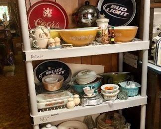 Just a few of the many vintage nesting bowls and casserole dishes , Coors and Bud light  beer trays!
