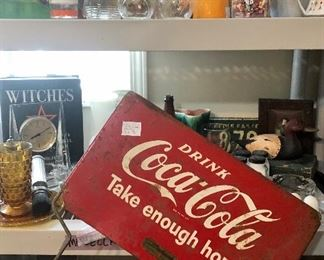 "Nice rare, early Coca-Cola sign and the motto for this sale ""take enough home""!"