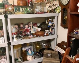 More great vintage items: wood carved items, clock, dolls, milk glass...