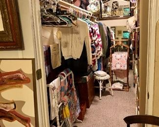 Packed closet!! Clothes, quilts, quilt rack, vintage books, afghans, vintage cowboy hats, vintage suitcases and much more!!