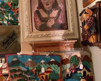 Vintage 'Lady' with real necklace, tapestries (3-D by Rosie's Imports made in Peru
