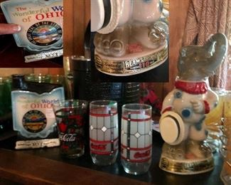 Vintage Jim Beam Whiskey Decanters (Republican Elephant Clown & 'The Wonderful World of Ohio'), vintage coke glasses...