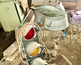 One of 2 traffic lights, large galvanized tub, cast iron farm sink!