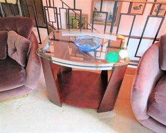 FANTASTIC SET OF SIDE TABLES CHROME, WOOD AND GLASS