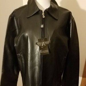 NWT A Emporio Confezioni black faux leather jacket sz L