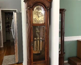 """#1 $950 - Howard Miller Grandfather Clock 59th Anniversary Limited Edition.  In perfect working order.  4 strike tones/options.  With key for cabinet.  20"""" W (22""""at base) x 12"""" D (14"""" at base) x 84"""" H."""