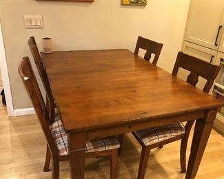 "Distressed Rectangular Wood Kitchen Table, 40""x 60"" w/20"" Self Storing Leaf & 4 Chairs.  Made by Bermex, a Canadian Company.  $550"
