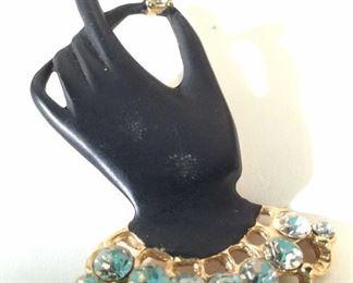 Rhinestone & Black Enamel Hand Figural Brooch