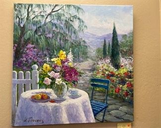 oil painting on stretched canvas, approx 24 x 28 inches. Garden tea by Torrens. WAS $900, NOW $200.