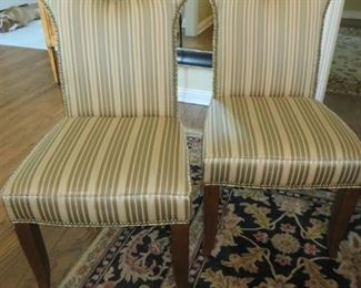 Custom Fabric Upholstered Side Chairs with Round Cut-Out & Nailhead Accents