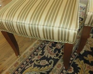 Custom Fabric Upholstered Side Chair with Round Cut-Out & Nailhead Accents