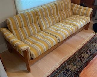 """HofD Yellow, White and Blue Teak and Upholstered Sofa 78""""x30"""" $1650"""