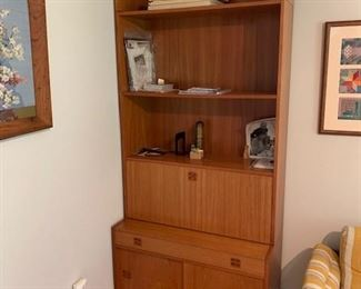 """PAIR of HofD Teak Bookcases with fold down desk area and storage 35""""x85""""  $750 ea"""