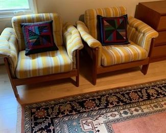 """PAIR of HofD Upholstered and Teak (Matches Sofa) Arm Chairs 29""""x35"""" $550 Ea"""