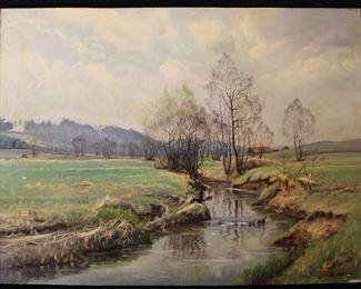 Antique signed landscape oil painting