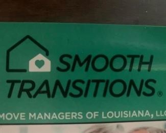 We are Smooth Transitions Move Managers of Louisiana, LLC.  We are a one stop shop for our clients that are downsizing and moving!  From helping decide what to take to your next location, we can pack your belongings, the mover moves them, then we go to your new destination and unpack and set everything up!  THEN, we go back into your former residence and liquidate what's left! Call us for your complimentary assessment (225) 590-3369 or (888) 864-5098.  You'll be happy you did!