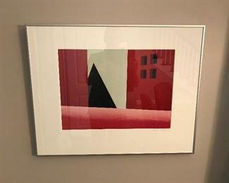 Red Geometrical Clayton Art Fair Framed Print  (28L x 22H)
