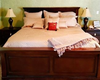King bed less than 1 year old. Mattress like new and sold separately. Bedding sold separately.