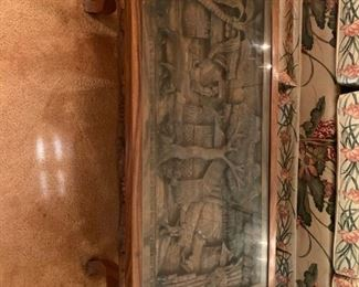 #3	Heavily Carved (Village w/people, animals) Coffee table w/glass protect   36x18x16	$175
