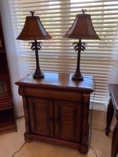 2- Cindy Crawford cabinet Bahama style $ 185 - Lamps $70 pair