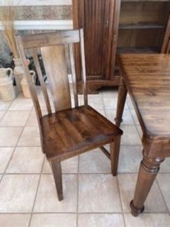 "9- Wood farm table 8' L x 42""W + 6 chairs 		$ 450"