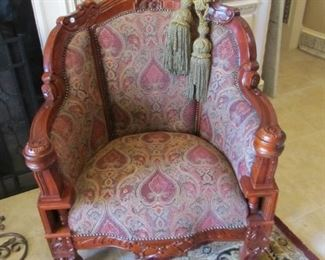 Victorian style chairs in a lush fabric