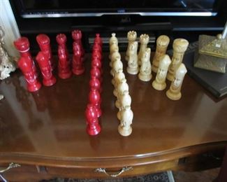 Vintage chalk ware Mid-century chess set