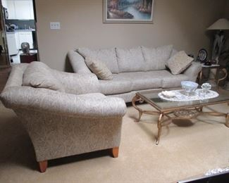 Klaussner Beautiful Living Room Suite ~ Brass & Glass Tables