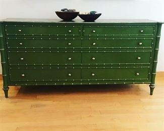 "One-of-a-kind! Incredible green dresser with silver ""bamboo"" detail and hardware. Original metal hardware included. Large statement piece. Would work in a dining area, living room, bedroom or entry."