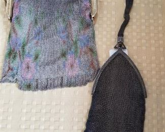 Multi color chain mesh purse Made in France.  Wrist purse with sterling.