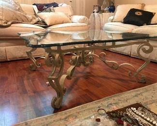 $150-Very nice iron glass top table