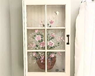 $40-Painted glass front wall cabinet