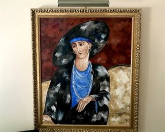 $150-Original, custom  painting of a woman with hat pearls seated, light not included