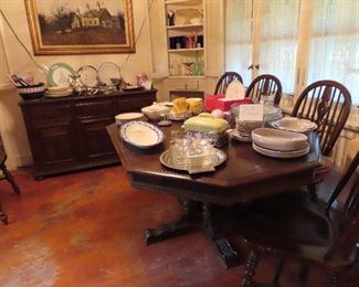 Dining Room  Ethan Allen Charter Oak Suite,  Table,  6, Chairs,  Buffet   On  the table u see Antique  English Ironstone Fish P latter, MCM Russell Wright Dinnerware, MCM glass desert set on polished aluminum t ray,    Hall casserole in holder for Westinghouse,   more contemporary china