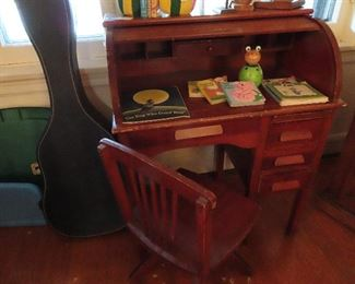Child's roll top desk, 1940's w/matching swivel chair