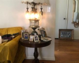 Unusual pair of lamps $35 each.  Duncan Phyfe Table $45