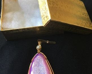 """Unique 10k gold pink pendant with pearl This vintage handmade piece was originally purchased in the '80's for $140. It is new with tag. Measures approximately 2 1/4"""" long x 1 1/8"""" wide."""