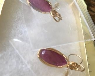 Ruby and gold earrings New! Never worn. Still packaged as purchased in 2016.