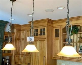 Lot 975  Buy it Now $435.00  Set of 3 Pendant Lights with long Chains