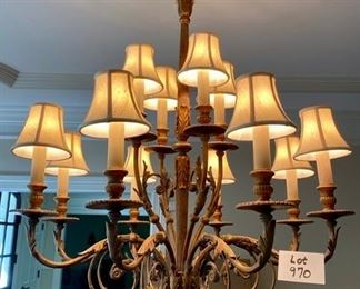 Lot 970. Buy it Now $2200.00.  This is a spectacular 12 Light Chandelier by Fine Art Lamps.  Owners paid over $5600 from 1-800-Lighting.com.  The finish is in antique Veronese gold and False crystal and false glass, and the shades are hand-sewn, in Silk Shantung.  Bulb wattage is 60 watts, with a candelabra shape. Asking $2,200.00.  A dramatic and sensational fixture.