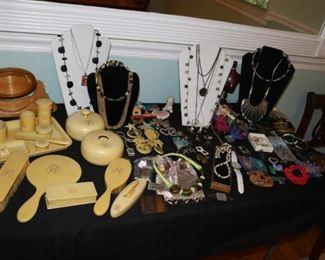 Celluloid Vanity Set  & Costume Jewlery