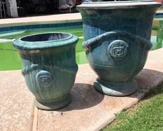 Outdoor Ceramic Matching Green Pots