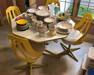 Retro table with four chairs.