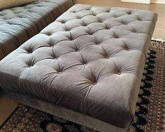 """#1Aira Designs sofa 97""""SOLD #2Aira Designs ottoman 48""""x32""""x19"""" SOLD Rug is not for sale."""