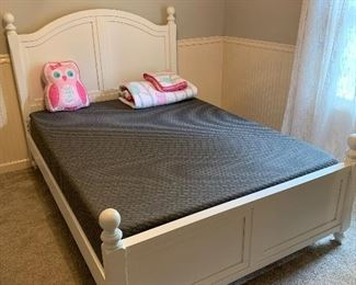 #10Full size white headboard, footboard platform bed SOLD #11 Tuft and Needle mattress. No box spring. As is-small (less than dime size) repaired tear$75 Bedding sold separately.