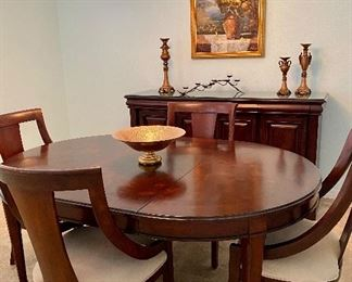 "Bernhardt Dining with 8 chairs (4 shown). From 48"" round, expands to 92"" oval. Includes Buffet. *THIS SET IS AVAILABLE FOR PRE-SALE"