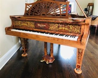 GABRIEL GAVEAU 1900's BABY GRAND PIANO. French Marquetry. Original Ivory keys